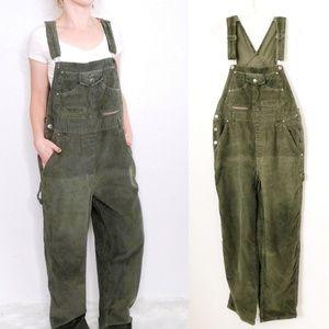 90s Vintage Green Cargo Corduroy Jean Bib Overalls